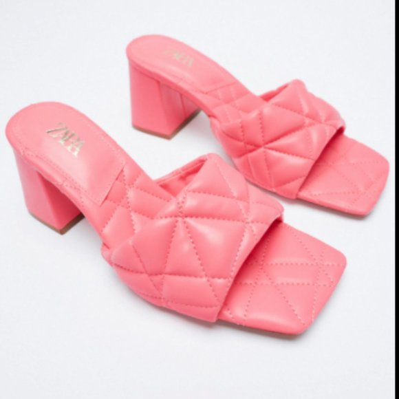 Zara Pink Quilted Mule